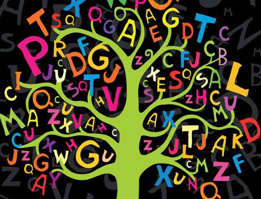 وکتور طرح انتزاعی درخت حروف انگلیسی رنگی