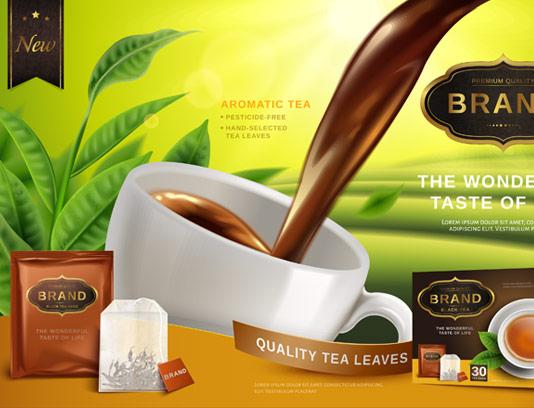 وکتور طرح تبلیغاتی چای کیسه ای و بسته بندی