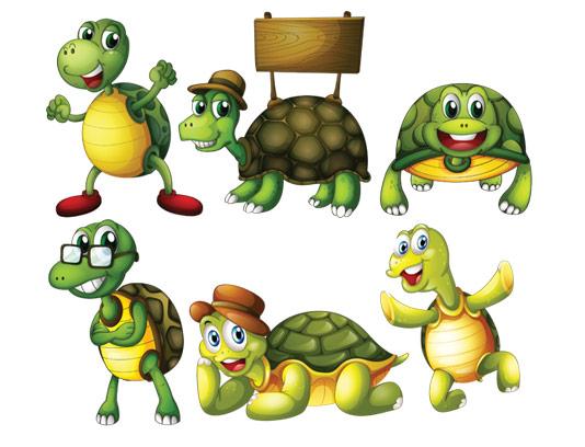 وکتور لایه باز لاکپشت کارتونی در موقعیت های مختلف