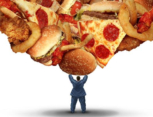 عکس با کیفیت و مفهومی غذاهای فست فود و چاقی