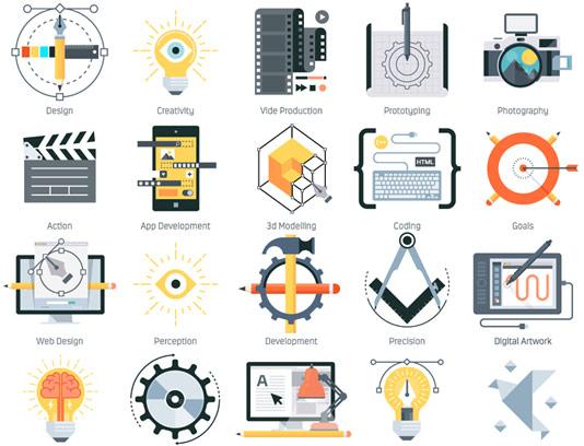 وکتور آیکون های فلت خلاقانه دیجیتال