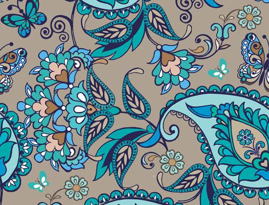 وکتور طرح پترن بته جغه ایرانی سنتی فیروزه ای