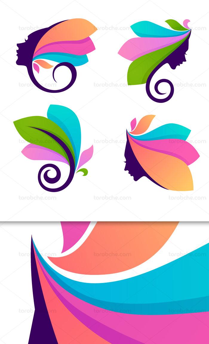 وکتور طرح لوگوی آرایشی و بهداشتی صورت و برگ
