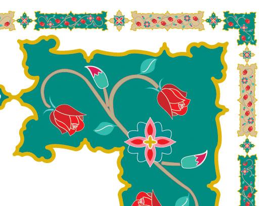 وکتور طرح کادر و حاشیه گل و بته دار