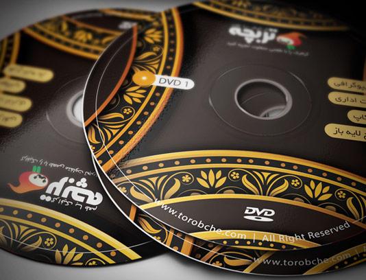 طرح لایه باز لیبل DVD و CD با گل و بته طلایی