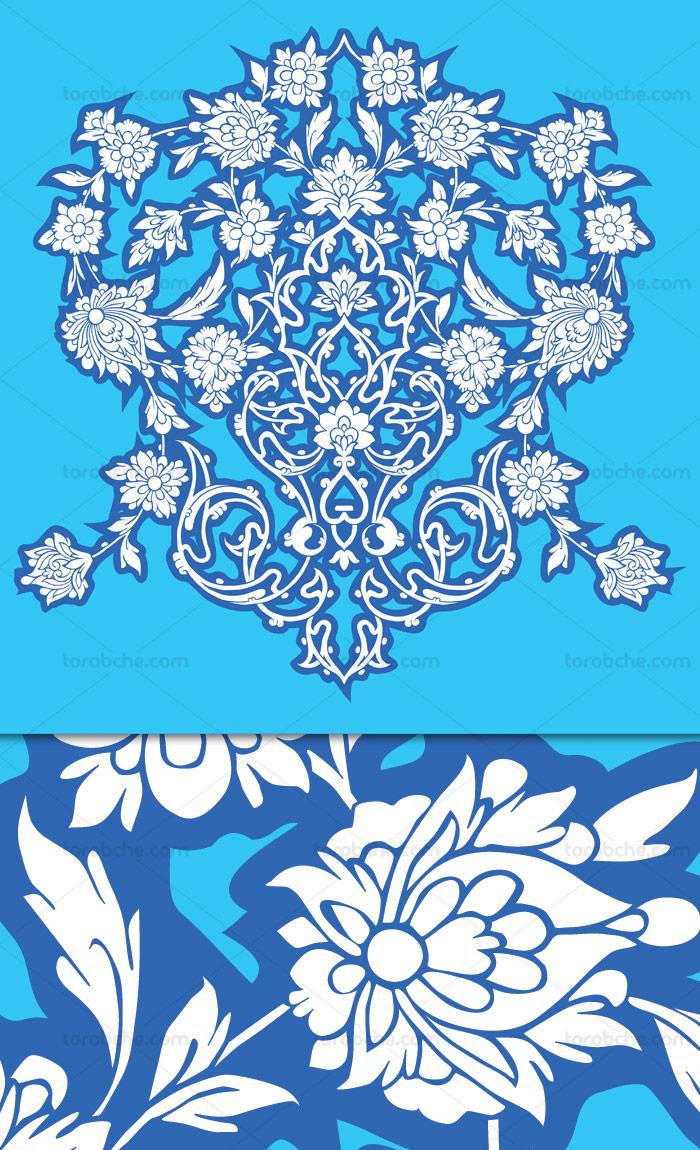 وکتور طرح گل و بته های اسلیمی آبی رنگ