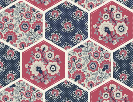 وکتور طرح پترن گل و بته با اشکال شش ضلعی