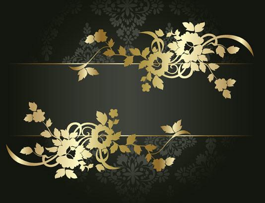 وکتور طرح بکگراند گل و بوته های طلایی