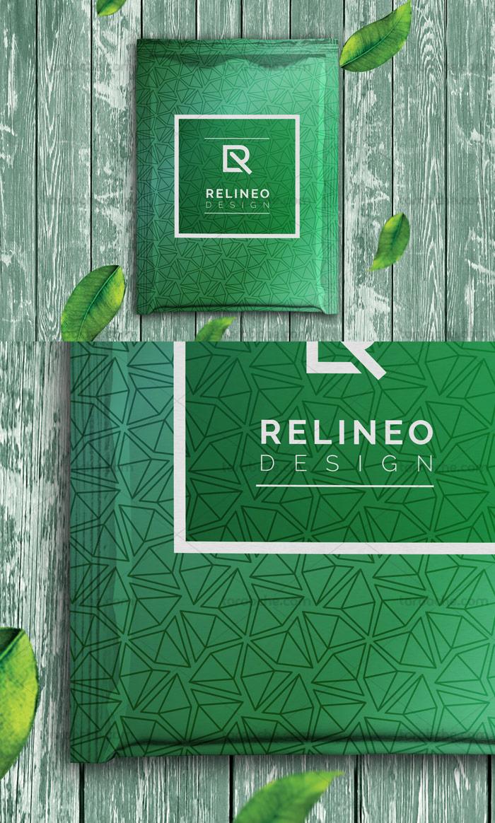 طرح لایه باز موکاپ بسته بندی آلمینیومی چای سبز