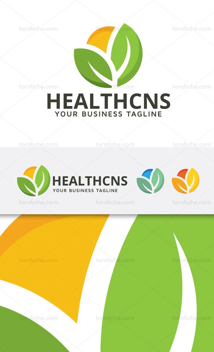 وکتور طرح لوگوی سلامتی با دو برگ سبز رنگ