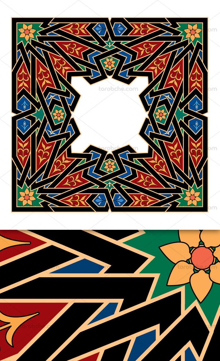 وکتور طرح کاشی کاری اسلامی شماره ۱۷۷