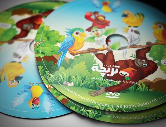 طرح لایه باز لیبل dvd با طراحی حیوانات جنگلی کارتونی
