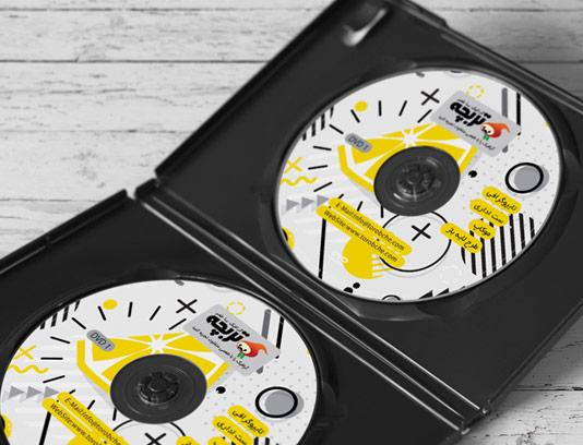 طرح لایه باز لیبل DVD لیمویی انتزاعی