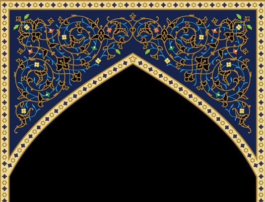 وکتور طرح کاشی کاری کاری اسلامی محراب مسجد شماره ۱۰