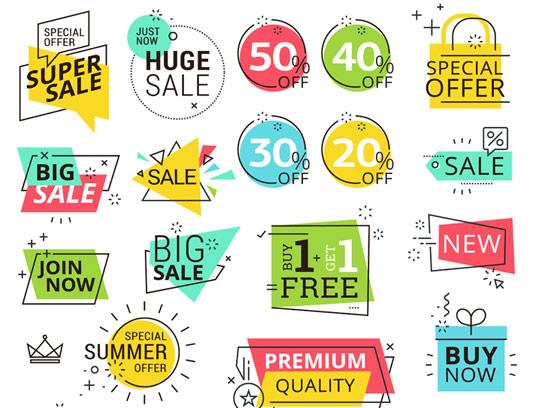 وکتور لایه باز لیبل و برچسب های فروش با استایل موشن گرافیک