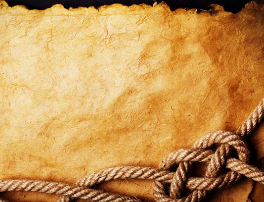 تکسچر و بکگراند کاغذ قدیمی با طناب گره خورده