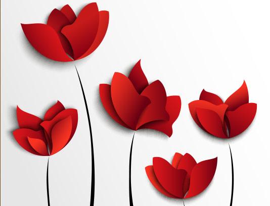 وکتور طرح گل های لاله قرمز رنگ انتزاعی