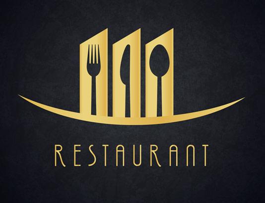 وکتور طرح لوگوی رستوران با المان قاشق و چنگال