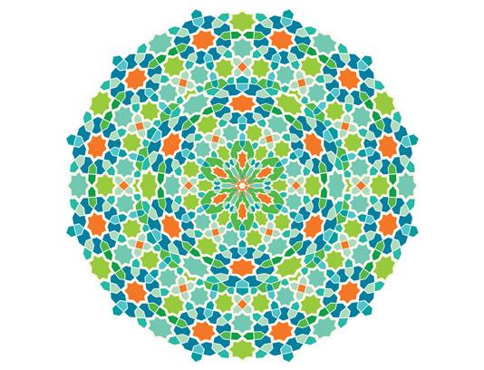 وکتور طرح نقوش کاشی های رنگارنگ اسلامی به شکل دورانی