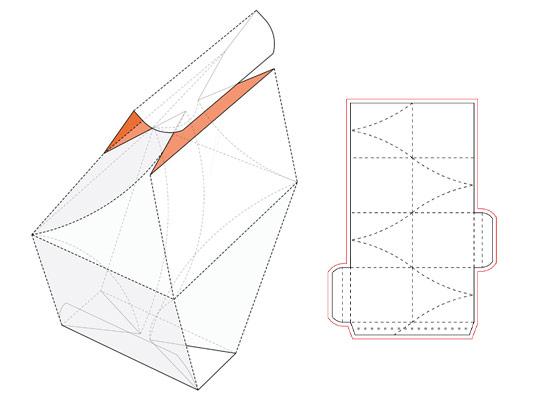 وکتور طرح صفحه گسترده و خط برش بسته بندی خلاقانه