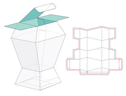 وکتور طرح صفحه گسترده و خط برش بسته بندی چند ضلعی ایستاده