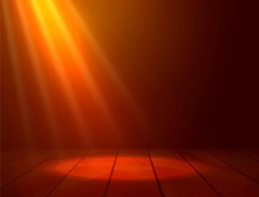 وکتور طرح افکت تابش نور پروژکتور بر روی استیج چوبی