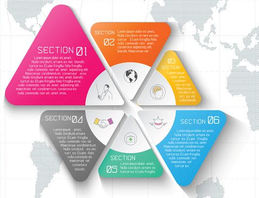 وکتور المان طراحی انفوگرافیک شش رنگ