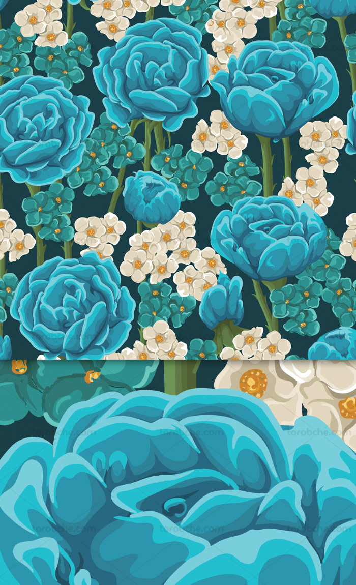 وکتور طرح پترن و بکگراند با گل های آبی و سفید