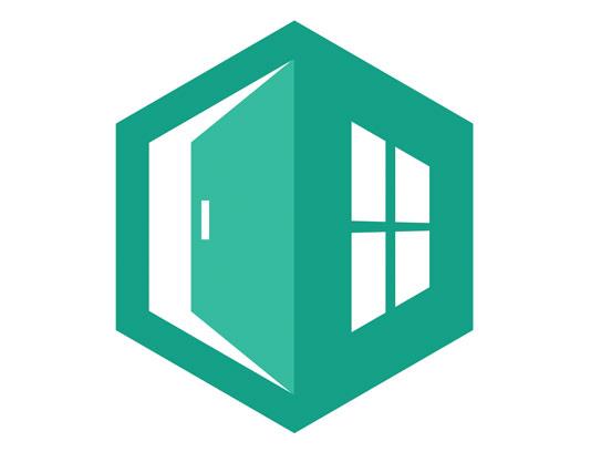 وکتور طرح لوگوی درب و پنجره ساختمان
