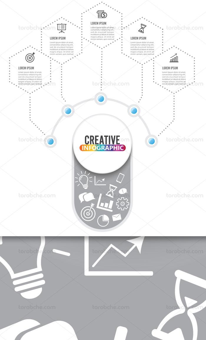 وکتور المان خلاقانه طراحی اینفوگرافیک چند بخشی