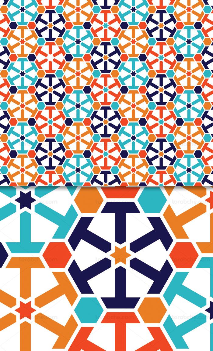 وکتور طرح پترن اسلامی با رنگ فیروزه ای و نارنجی