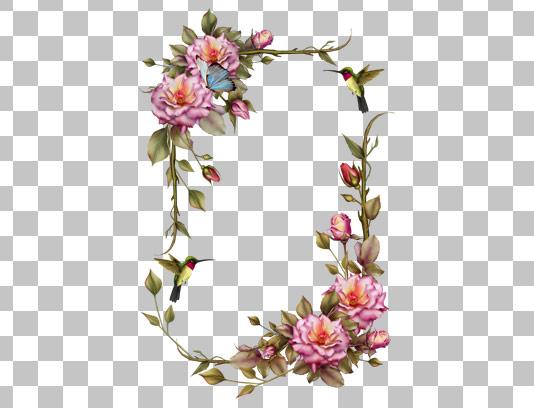 عکس دوربری شده قاب گل و بته های زیبا و پروانه