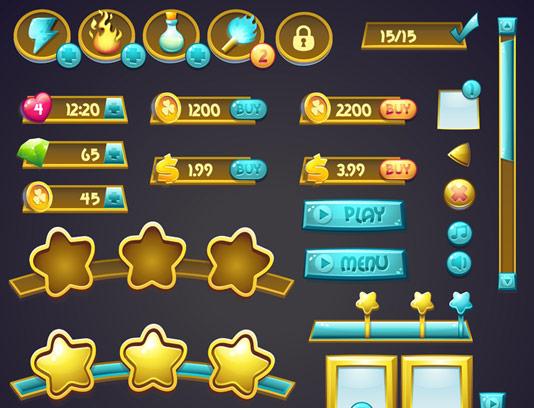 وکتور المان و دکمه های طراحی Ui بازی