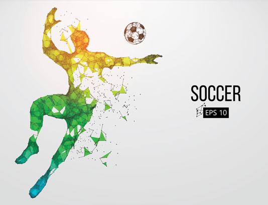 وکتور طرح فوتبالیست انتزاعی چند وجهی