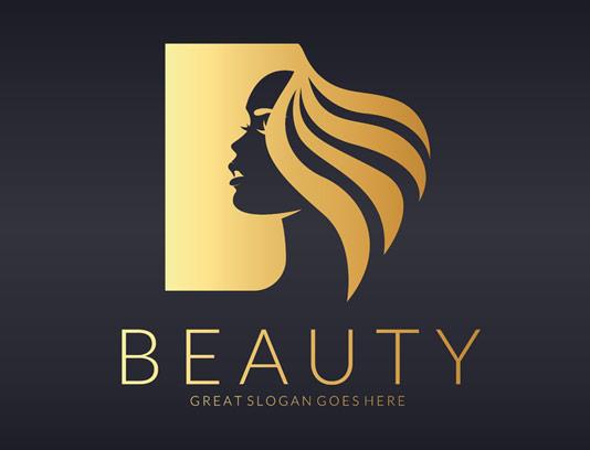وکتور طرح لوگوی آرایشی و بهداشتی با موهای طلایی