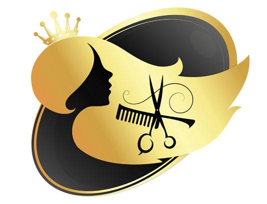 وکتور طرح لوگوی طلایی رنگ سالن زیبایی بانوان با قیچی