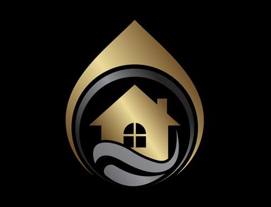 وکتور طرح لوگوی طلایی مشاور املاک و خانه