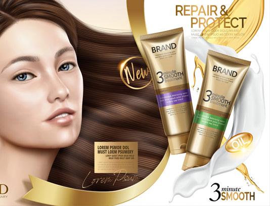 وکتور طرح لایه باز تبلیغاتی محصولات ترمیم مو