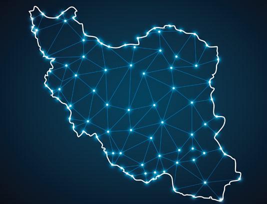 عکس با کیفیت نقشه ایران به صورت دیجیتال با نقاط شبکه ای