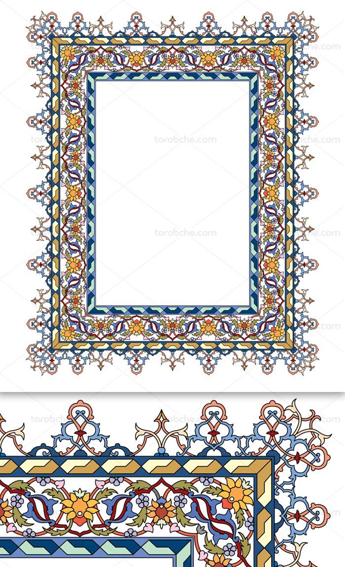 وکتور طرح کادر اسلیمی عربی