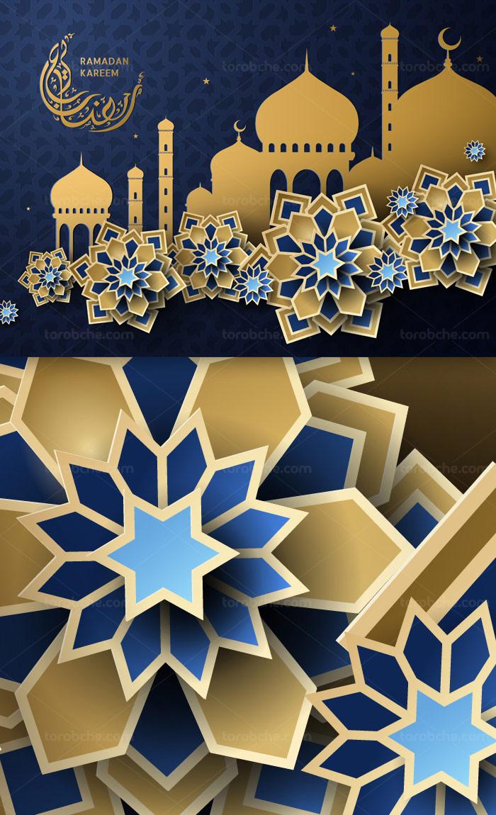وکتور طرح رمضان کریم با المان های مسجد و گل های طلایی