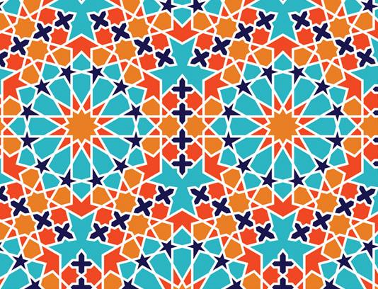 وکتور طرح پترن اسلامی با رنگ های آبی فیروزه ای،نارنجی و سرمه ای
