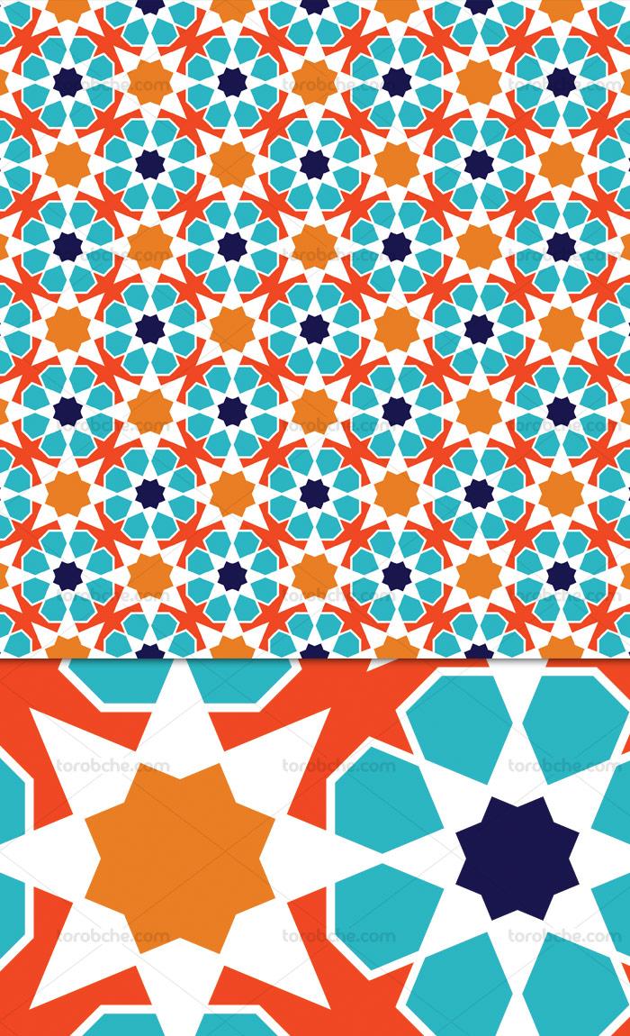 وکتور طرح بکگراند پترن اسلامی فیروزه ای و نارنجی رنگ