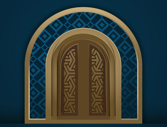 وکتور طرح درب محرابی شکل با نقوش اسلامی