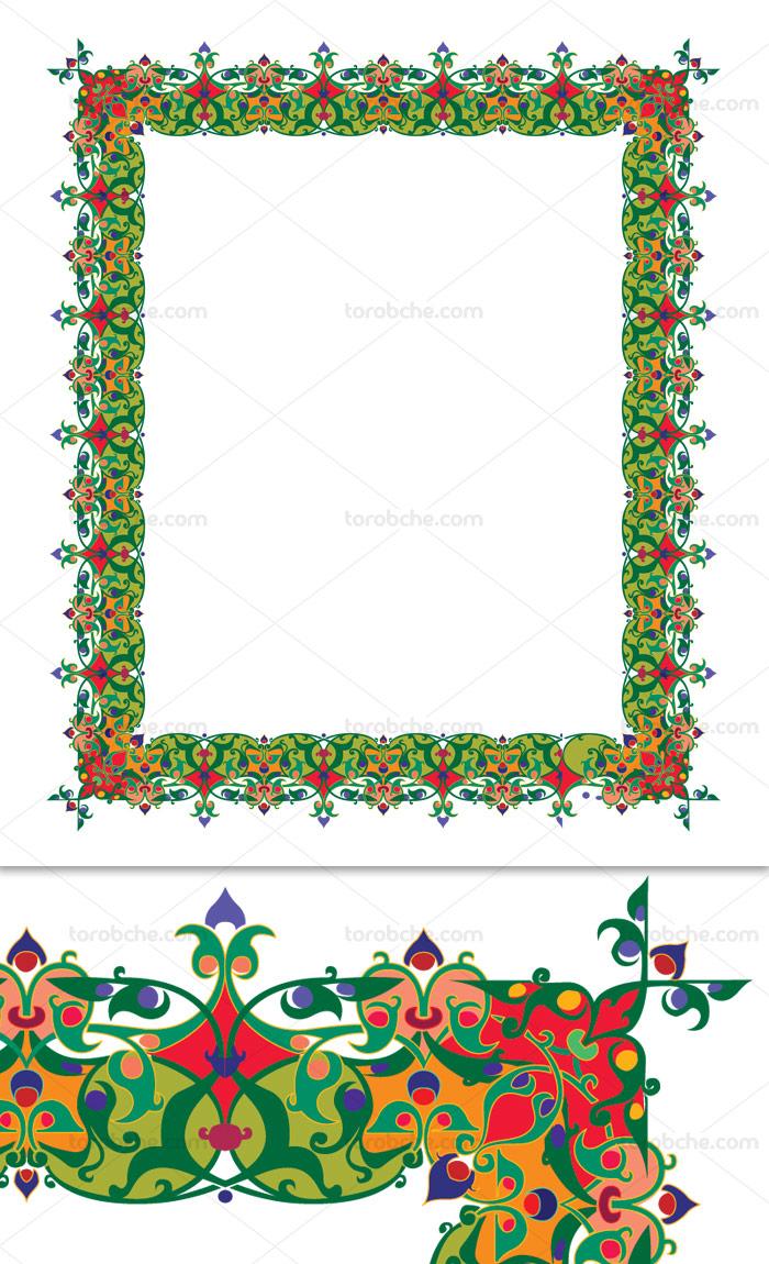 وکتور طرح قاب و کادر اسلامی با ترکیب رنگی سبز، نارنجی و قرمز