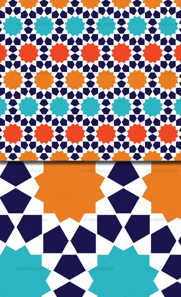 وکتور طرح پترن اسلامی فیروزه ای و نارنجی رنگ