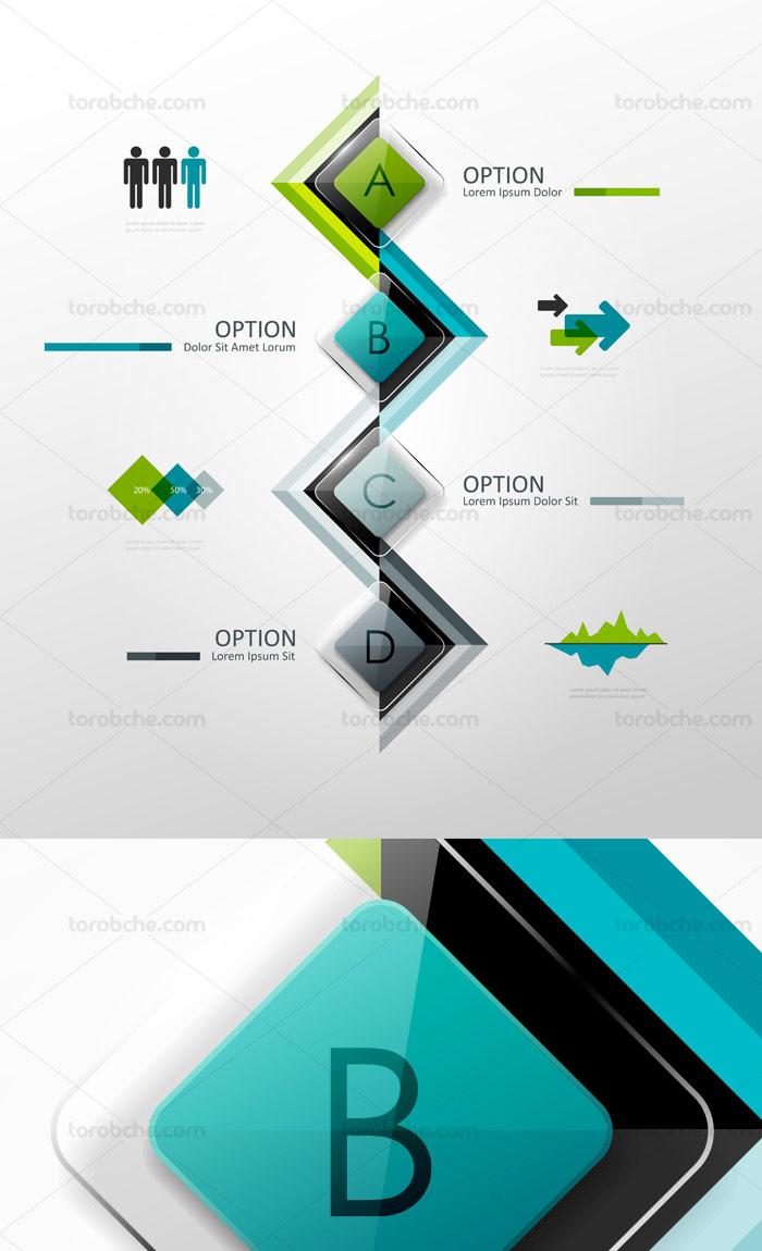 وکتور طرح المان اینفوگرافیک مدرن با ترکیب رنگی سبز