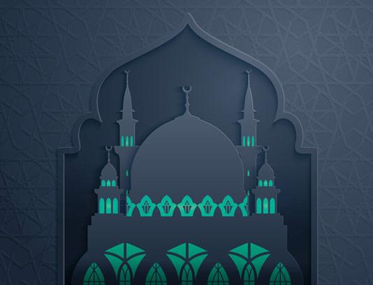 وکتور طرح انتزاعی مسجد دارای گنبد و مناره