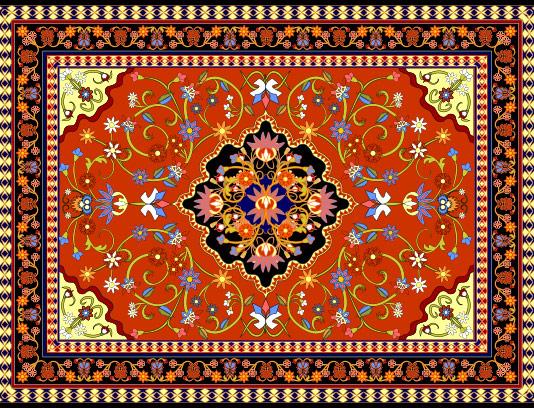 وکتور طرح و نقش فرش ایرانی با رنگ های گرم