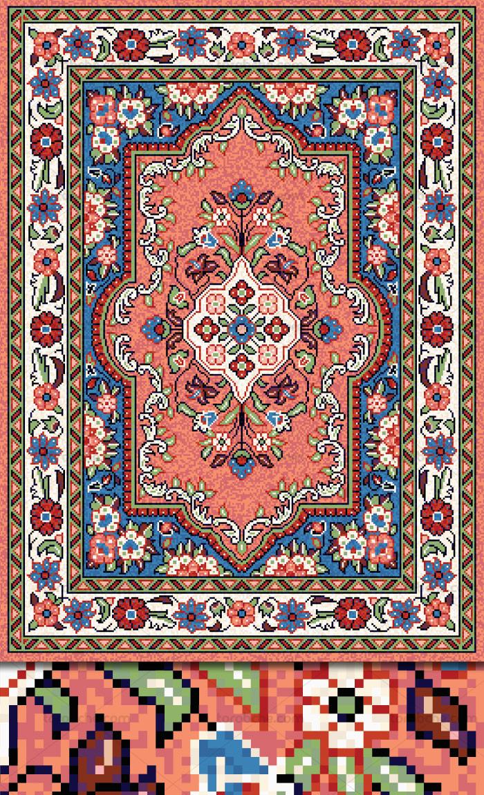 وکتور لایه باز طرح نقشه فرش ایرانی اصیل
